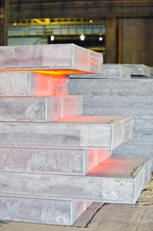 piles of hot steel sheet