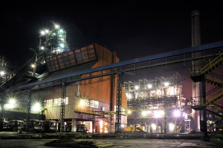 steel plant at night