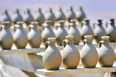 indian artifacts: drying ceramic vase Stock Photo