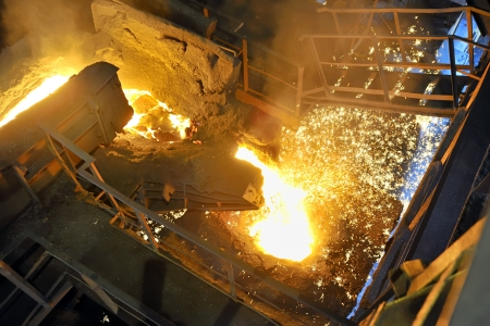 pouring molten steel in transportation device Stock Photo - 16476778