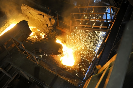 Molten hot steel pouring
