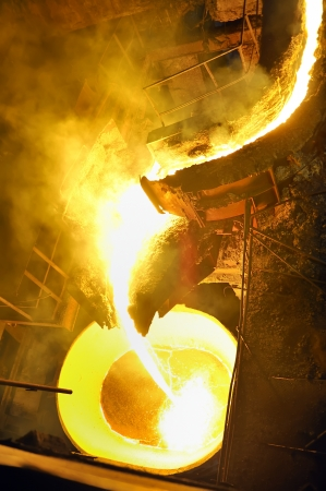 pouring molten steel in transportation device Stock Photo - 16477388