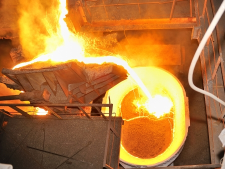 pouring molten steel in transportation device Stock Photo - 16480055