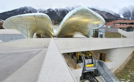 NORDKETTENBAHN INNSBBUCK AUSTRIA -JANUARY 17 Funicular in Nordkettenbahnen will now transport visitors  from the city center of Innsbruck to high mountain terrain   january17,2010 Innsbruck Austria  Stock Photo - 20765848