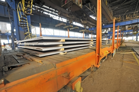 steel sheet cargo on railway  Stock Photo - 16425368