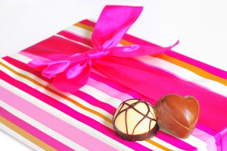 Chocolate candies and gift box  photo