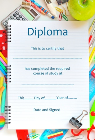 achieve: School Diploma Stock Photo