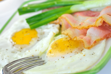 breakfast with bacon and fried eggs Stock Photo - 16475070