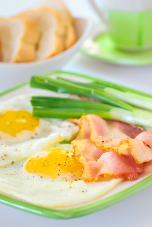 breakfast with bacon and fried eggs Stock Photo - 16473835