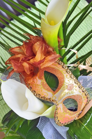 Venetian mask and flowers Stock Photo - 16480284