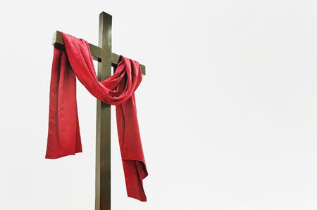grunge cross: Wooden Cross with Red Cloth
