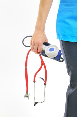 sphygmomanometer: Doctor with stethoscope and sphygmomanometer  Stock Photo