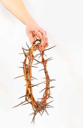crown of thorns and hands isolated Stock Photo - 16474268