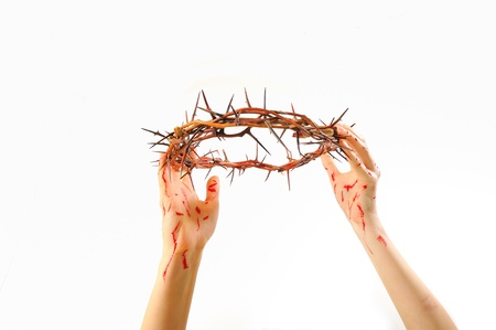 crown of thorns and hands isolated Stock Photo - 16474258