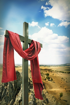 christ is risen easter: Wooden Cross with Red Cloth