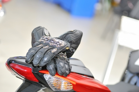 motor cycle: motorcycle gloves with carbon on bike