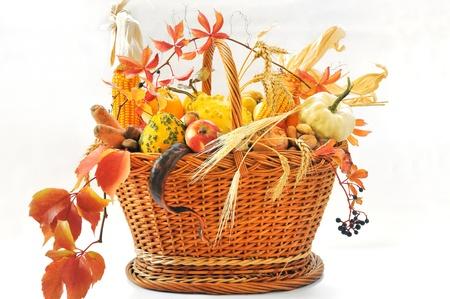 Autumnal basket over white Stock Photo - 16478428
