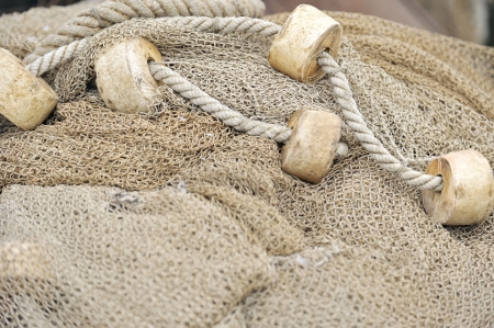 lashing: Fishing nets closeup