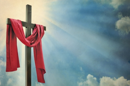 resurrected: cross on white background  Stock Photo