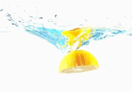 orange in streaming water Stock Photo - 16509450