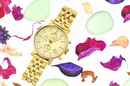 gold watch: Gold woman watch Stock Photo