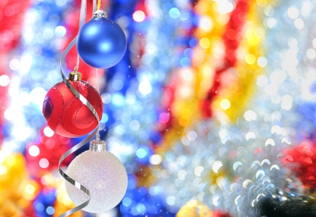 Christmas baubles and ribbons photo