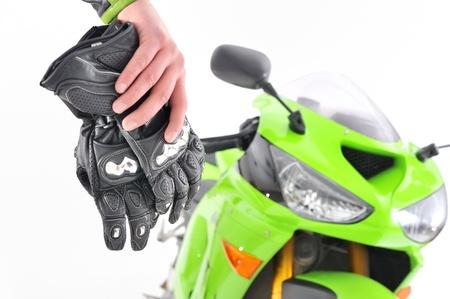 motociclista: guantes de motociclistas Foto de archivo