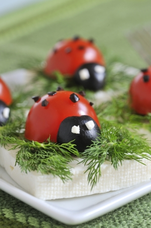 ladybug tomato and olive with cheese Stock Photo - 16480292