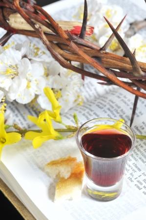 bible flower: Taking Communion Stock Photo