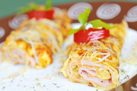 Omelet with ham Stock Photo - 16529072