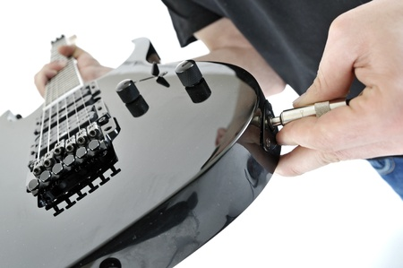 unplugged: unplugged the guitar jack Stock Photo
