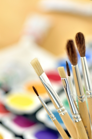 tempera: Paint brushes Stock Photo