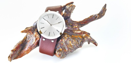 The arm watch with the leather strap on wood Stock Photo - 16567242