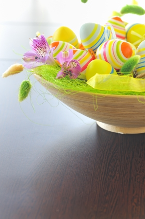 basket with easter eggs Stock Photo - 16567415