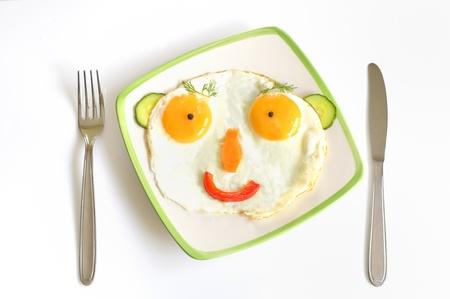 caras felices: Happy Face fre�r huevos