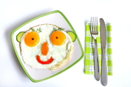 child food:  Happy Face Frying Eggs