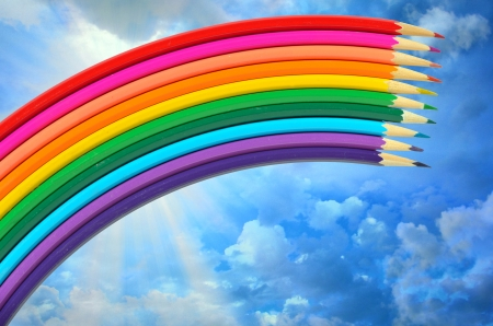 colored pencils and rainbow Stock Photo - 17456905