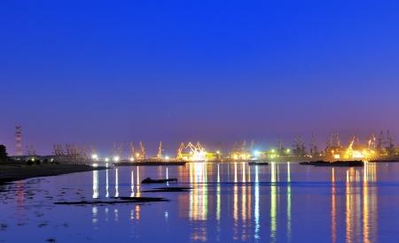 Port warehouse at night Stock Photo - 17748268