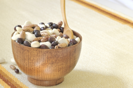 colored beans in wooden bowl Stock Photo - 18116398