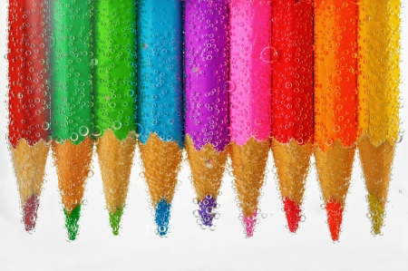 colored pencils sunken in water Stock Photo - 18116401