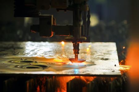 laser cutting: Laser cutting metal sheet Stock Photo