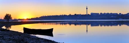 sunset on danube river Stock Photo - 18690513