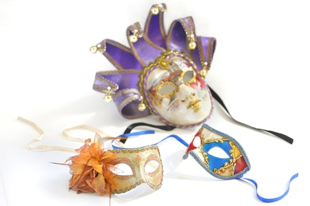three Venetian masks for a party on a white background Stock Photo - 18841866