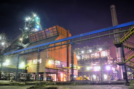 steel plant at night Stock Photo - 18841885
