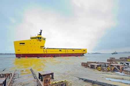 galati: launching ceremony of a ship in the Galati shipyard on danube