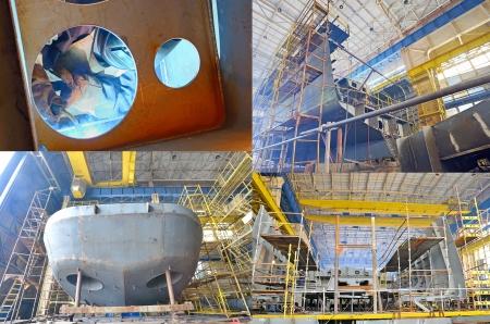 shipway: Ship building shoot  inside of shipyard Stock Photo