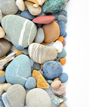 small details: colored stones on white background Stock Photo
