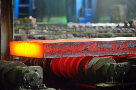 hot steel on conveyor; sheet metal Stock Photo - 19447662