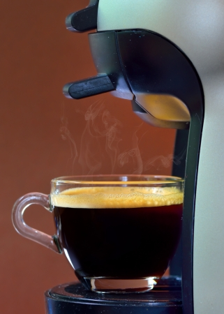 Espresso pouring into a cup Stock Photo - 19986131