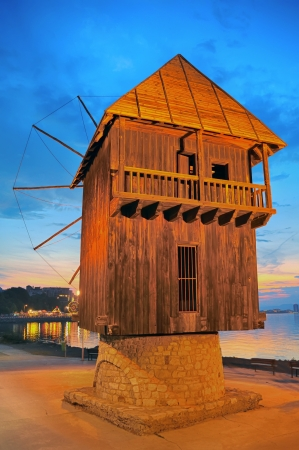 gristmill: old mill nessebar at sunset